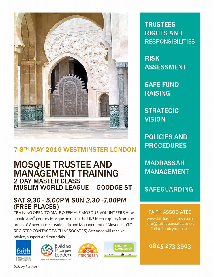 Mosque Trustee and Management Training in Westminster (Faith Associates)